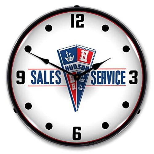 New Hudson Sales and Service Retro Vintage Style Advertising Backlit Lighted Clock - Ships Free Next Business Day to Lower 48 States