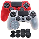 YoRHa Studded Silicone Cover Skin Case for Sony PS4/slim/Pro controller x 2(white+red) With Pro thumb grips x 8 For Sale