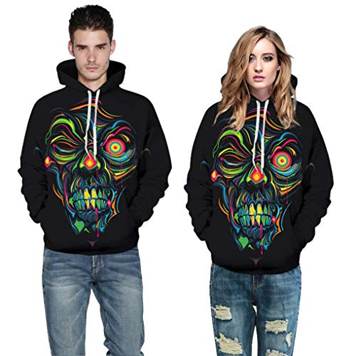WUAI Clearance Halloween Costumes For Adults Mens Womens Hoodie Sweatshirt Skull 3D Printed Slim Pullover Jackets(Multicolor,Size L/XL)