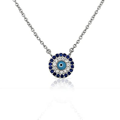 Amazon.com  925 Sterling Silver Evil Eye Hamsa White Blue CZ Womens Pendant  Necklace  Chain Necklaces  Jewelry 08694255c2