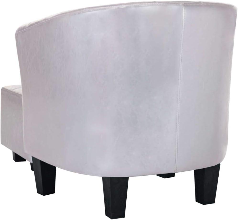 vidaXL Sessel Chesterfield mit Fu/ßhocker Clubsessel Loungesessel Cocktailsessel Relaxsessel Stuhl Sofa Ledersessel Gl/änzend Silbern Kunstleder