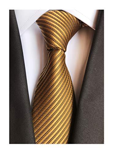 (Yellow Bronze Silk Tie Formal Dress Designer Necktie Decent Holiday Gifts for men)