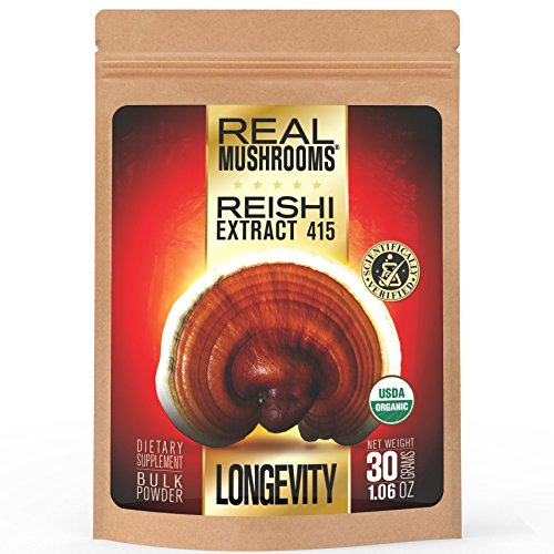 Reishi Mushroom Extract Powder by Real Mushrooms - Certified Organic - Ganoderma Lucidum / Ling Zhi - Immune Booster - 30g Bulk Reishi Mushroom Powder - Perfect for Shakes, Smoothies, Coffee and Tea (Defense Extract)