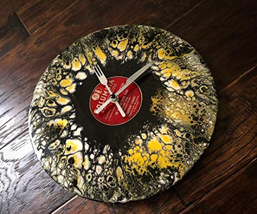 (Fork & Knife Swipe Acrylic Pour Wall Clock Silent Vintage Record - Hobbs Superior Handmade Supply)