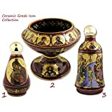 RELIGIOUS ART, Red Ceramic Icon Holy Water Bottles & Standing Oil Lamp Beautiful Set of 3