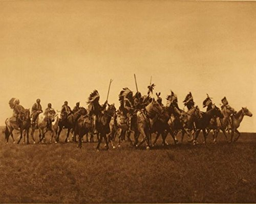 Blure War Party Native American Indian Photo Photogrpah 8 x 10 Sepia Tone From The 1800 Old West