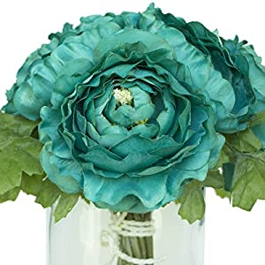 Turquoise Silk Ranunculus Bouquet - Wedding Party Flowers Arrangements Gift 102