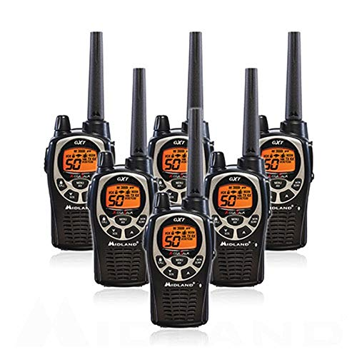 Midland GXT1000VP4 50 Channel GMRS Two-Way Radio - Up to 36 Mile Range Walkie Talkie - Black/Silver (Pack of ()