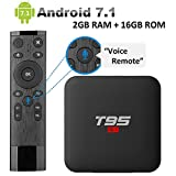 EASYTONE Android TV Boxes with Voice Remote Control,Google Android box 2GB RAM 16GB ROM Amlogic Quad Core 64 Bits Processor Supporting 4K (60Hz) Full HDMI H.265 3D Wifi Box [2018 Newest]