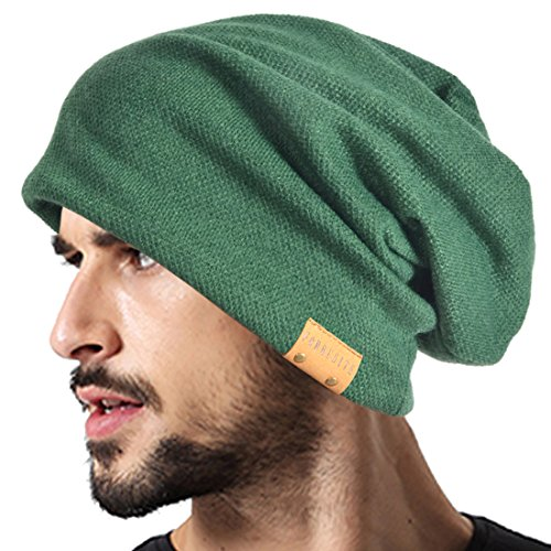 VECRY Men Oversized Slouch Beanie Large Skullcap Knit Hat (Green) ()