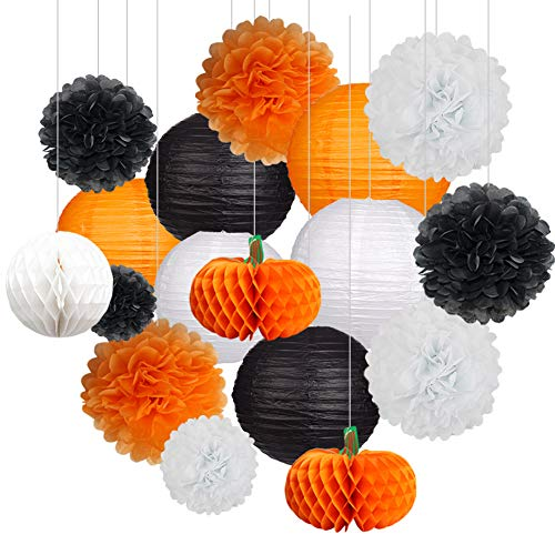 18Pcs Party Pack Paper Lanterns and Pom Pom Balls Hanging Decoration for Halloween Wedding Birthday Baby Shower-Black/Orange/White -