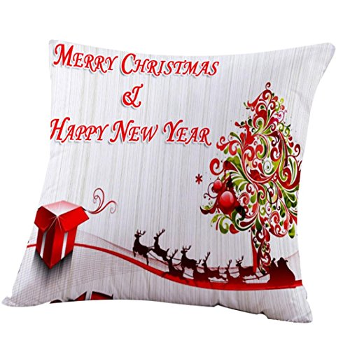 Happy Christmas Throw Pillow Case Square Sofa Cushion New Pillow Cover Home Decoration by Keepfit (18