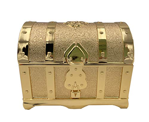 - Vmonv Rectangle Metal Box Vintage Treasure Chest Trinket Jewelry Box Ring Case for Girls (Golden)