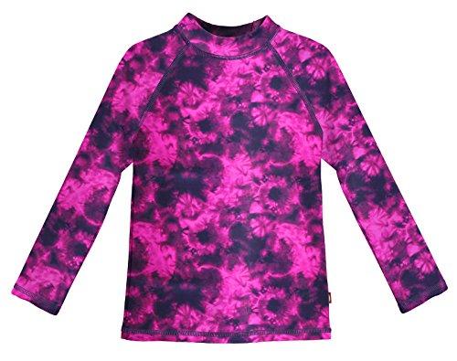 Shirt City Threads (City Threads LS Girls' Rashguard Swimming Suit Swim Tshirt Tee UPF50+ Sun Protection For Beach Pool Summer Fun, Black Tie Dye, 14)