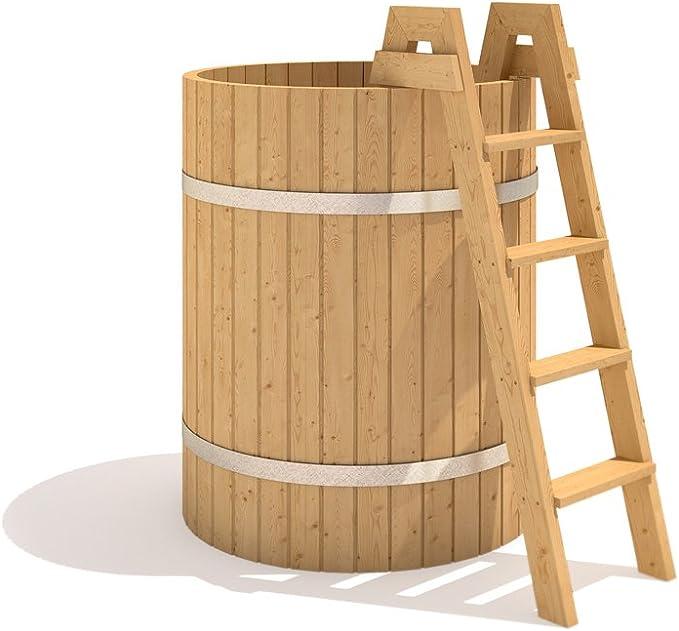 Efecto ISIDOR incisión Spa al aire libre Hottub 110 de billar de madera bañera escalera: Amazon.es: Hogar