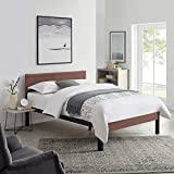 Classic Brands DeCoro Portland Wood Slat and Metal Platform Bed Frame with Solid Wood Headboard | Mattress Foundation, Queen