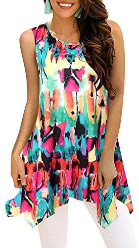 Moskill Womens Tunic Tops Sleeveless Floral Print Tank Boho Casual Loose Tshirts Blouse (L, Colored) ()