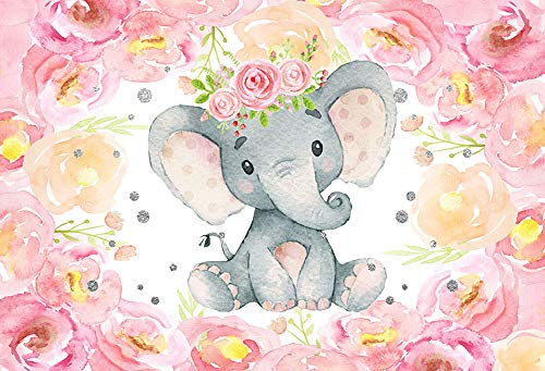 MEHOFOTO Lovely Pink Elephant Baby Shower Backdrop Flowers Photography Background Photo Banner Polyester Tablecloth Decoration Wallpaper Picture 5x3ft