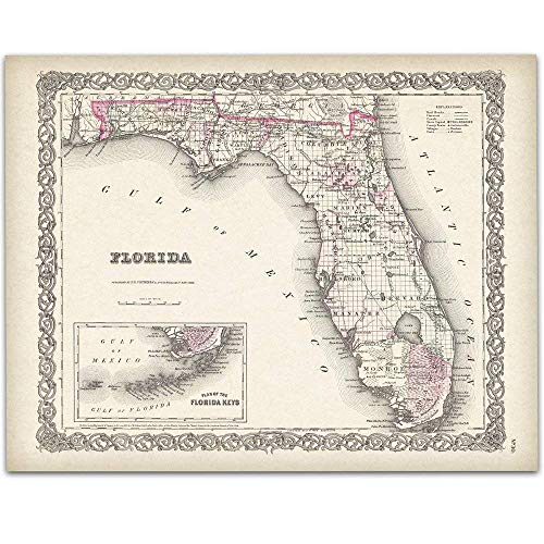 1855 Art - Map of Florida 1855-11x14 Unframed Art Print - Great Vintage Home Decor Under $15