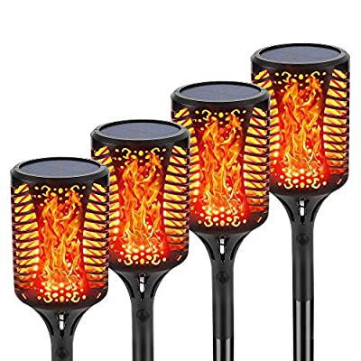 Coofun Solar Lights Outdoor Pathway, 99 LED Tiki Torches 55'' Waterproof Security Solar Torch Landscape Lighting with Dancing Flames Auto On/Off for Garden Fence Yard Pathway Wall Patio Path