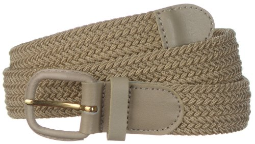 Strait City Trading Co men's stretch belt with leather covered buckle 3XL beige - Leather Covered Buckle Belt