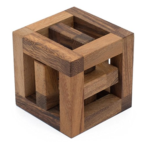 SiamMandalay Hoopla Cube: Handmade & Organic 3D Brain Teaser Wooden Puzzle for Adults from with SM Gift Box(Pictured)