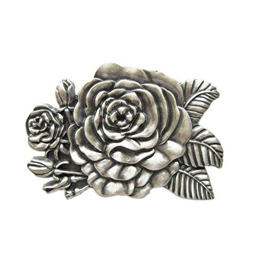 Rose Flower Belt Buckle - Vintage Silver Plated 3D Sculpt Western Rose Flower Belt Buckle