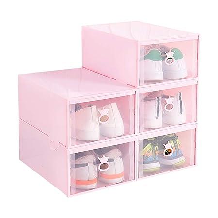 LITING Zapatero De Plástico Transparente Caja De Zapatos Cajón Caja De Almacenamiento Apilable Moda Multifuncional Hombre Estudiante Hogar (Color : Pink): Amazon.es: Hogar