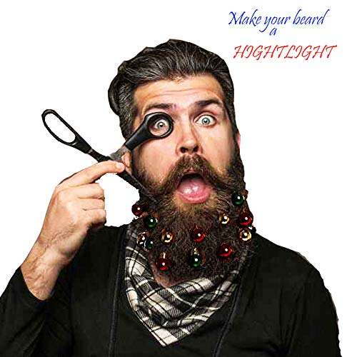 QLINLEAF 18-Pack Colorful Beard Ornaments Christmas Mini Balls Bells Beard Clip Facial Hair Baubles Hair Decoration in The Holiday Party Supplies