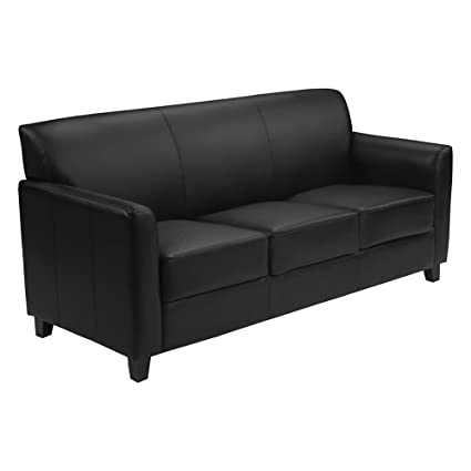 Amazon.com: Offex Contemporary Black Leather Sofa with ...