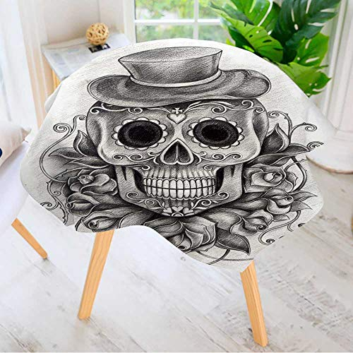 Leighhome Round Tables in Washable Polyester- Art Skull Day of The Dead Hand Drawing on Paper Tablecloth –Ideal for Home, Restaurants, Cafés 47.5