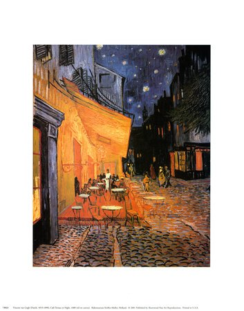 The Café Terrace on the Place du Forum, Arles, at Night, c.1888 Landscape Art Poster Print by Vincent van Gogh, - Arles Print Poster