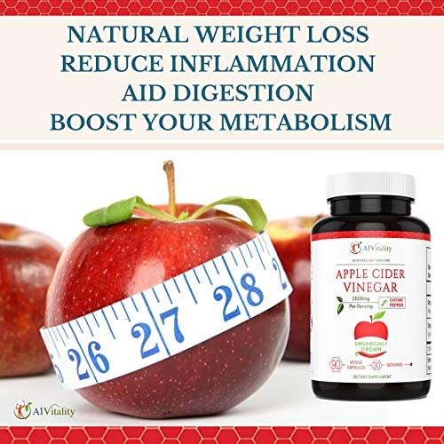 Organic Apple Cider Vinegar with Cayenne Pepper – Natural Detox Cleanse, Weight Loss, Digestion, Appetite Suppressant, Prevent Bloating, Immune Health, Premium Keto Friendly Supplement 1500mg Capsules 5