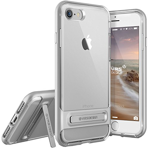 iPhone 7 Case, VRS Design [Crystal Bumper Series] Clear Military Grade Protection with Metal Kickstand for Apple iPhone 7 2016 - Satin Silver
