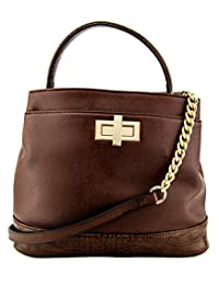 88 Ellie Turn Lock Womens Crossbody Bucket Handbag