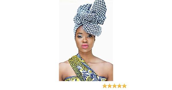 Amazon.com: Headwrap/african print headwrap/turban / Headtie/ankara headscarf/African headtie/wax print headwrap/headscarf - Mono dark Blue and white: ...