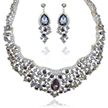 Ever Faith Flower Cluster Teardrop Austrian Crystal Necklace Earrings Set