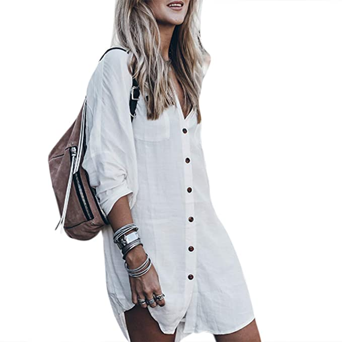 4e6c800d7 Image Unavailable. Image not available for. Color: UJuly Womens Long Roll Up  Sleeve Bikini Shirt Dress ...