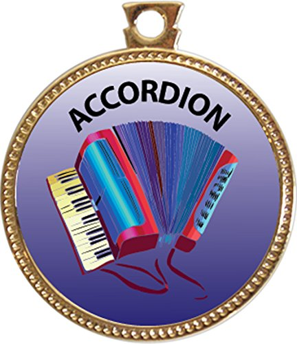 Accordion Award, 1 inch dia Gold Medal