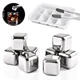 Mayshion Set of 8 Stainless Steel Whiskey Stones with Tongs,Wine,Beer,juice,Drinks