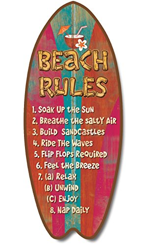 Surfboard Plaque Beach Rules Coastal product image