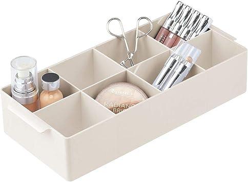 mDesign Kosmetik Organizer dekorative Box mit 8 F/ächern zur Medikamenten- und Kosmetikaufbewahrung Lippenstift /& Co auf Waschtisch oder Kommode praktische Ablage f/ür Nagellack cremefarben