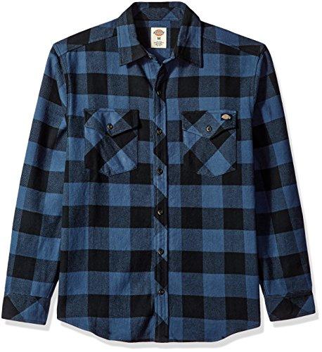 Dickies Men's Relaxed Fit Long Sleeve Brawny Plaid Shirt, Dark Denim/Black, Small