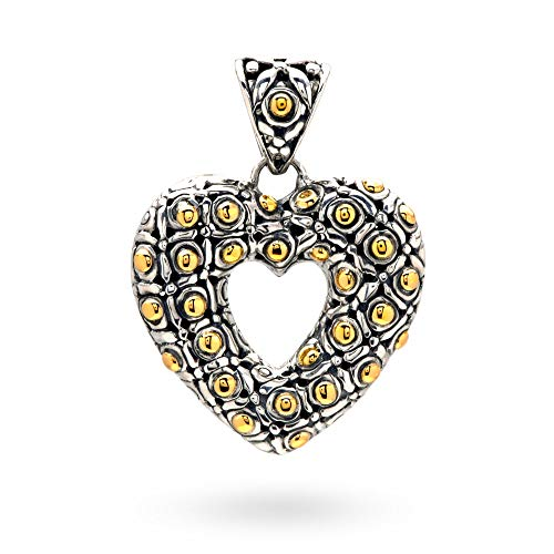 - 925 Sterling Silver and 18 Kt Yellow Gold Pendant with Heart Shape and Plong Motive for Women and Jewelry Gift, Balinese Soka Flower Motive Include 925 18K Stamp