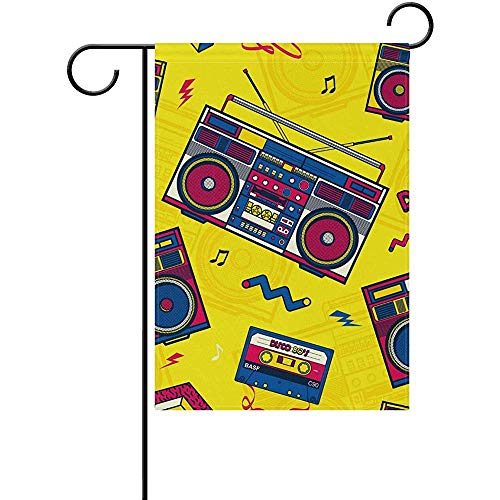 GRATIANUS Retro Pop Boombox Radio 80S Garden Flag Yard Flag Banner for House Outdoor Decor 12 x 18 Inch