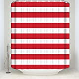 Prime Leader Striped Shower Curtain, Christmas Style Red and White Stripes Monochrome Tones Digital Printed, Fabric Bathroom Decor with Hooks, 72 x 96 Inches Extra Long