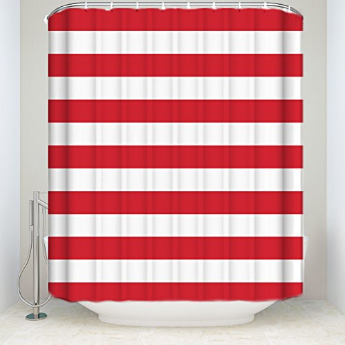 red and white shower curtain - 3