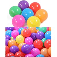 100 Pcs Balls Pit Balls Colorful BPA Ocean Ball Free Crush Proof with Mesh Bag for Toddlers Baby Playpen Bouncy Castles…