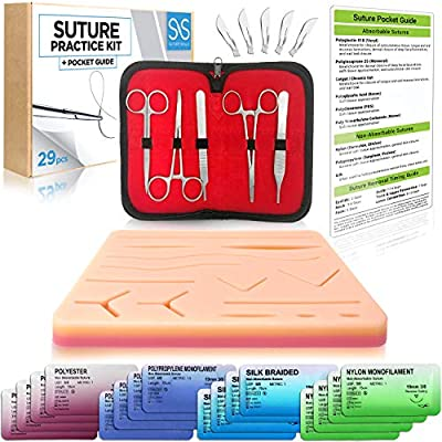 Suture Practice 29 Piece Tool Kit | Online How To Suture Video Course | Sutures Training Manual | Doctor, Nurse, Surgeon, Dentist, Veterinary, Medical Student, Practice Pad and Teaching Supplies