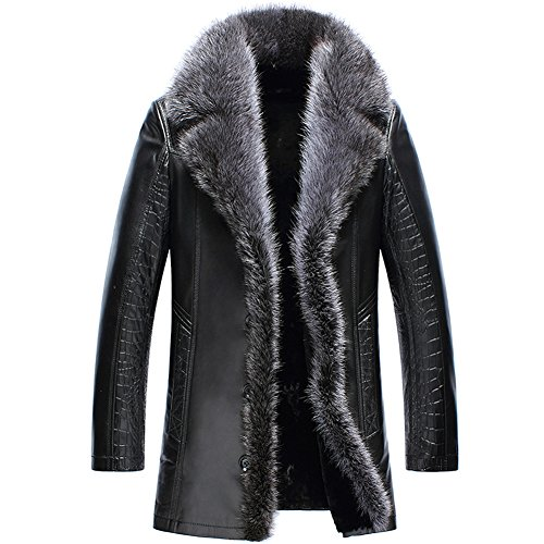 Cwmalls Custom Men's Fur Shearling Leather Coat CW852556 (Small, Black)